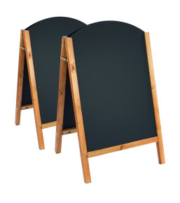 Curved top reversible chalkboard